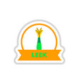 label icon on design sticker collection leek with vector image vector image