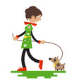 lady with dog isolated on white background flat vector image vector image