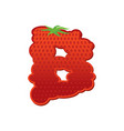 letter b strawberry font red berry lettering vector image vector image