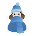 little shyly girl in blue hat and scarf vector image