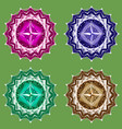 mandala set symbol four colors vector image vector image