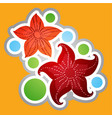 Marine red stars in a cartoon style sticker for vector image