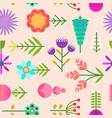 naive pink pattern with flat simple color flowers vector image vector image