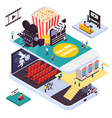 online cinema isometric composition vector image vector image