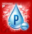 p phosphorus mineral blue drop icon vector image vector image