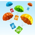parachute with paper bag sale in the sky vector image vector image