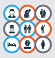 person icons set with depression friends vector image vector image