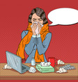 pop art business woman feeling sick at work vector image