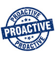 proactive blue round grunge stamp vector image vector image