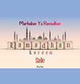 ramadan kareem sale with line mosque and lantern vector image