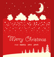 red christmas card background on winter moon vector image vector image