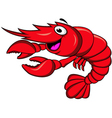 red shrimp cartoon vector image vector image