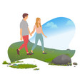romantic weekend in mountains couple traveling vector image vector image