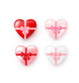 set heart shaped gift boxes with silk bow vector image vector image