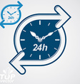 Simple 24 hours timer around-the-clock flat vector image vector image