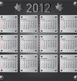 stylish calendar with metallic effect for 2012 sun vector image vector image