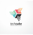 tech cube logo design for internet technology vector image