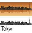 Tokyo V2 skyline in orange background in editable vector image vector image