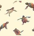 watercolor rainbow small baturtles vector image vector image