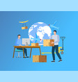 we deliver your cargo anywhere in world website vector image vector image
