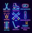 winter sport neon label set vector image vector image