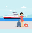 young woman with luggage standing in front vector image