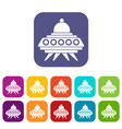 alien spaceship icons set vector image