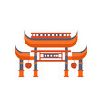 asian gates entrance with roof vector image vector image