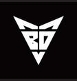 bd logo monogram with back drop shape logo design vector image vector image