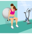 Beautiful woman squats with dumbbells using vector image vector image