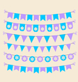 Bunting set patel purple and blue scrapbook design vector image vector image