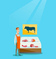 butcher offering fresh meat in the butcher shop vector image vector image