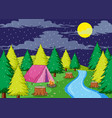 camping in rainy night vector image