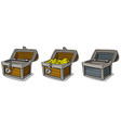 Cartoon open treasure chest with gold coins set