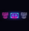 cassetts for tape recorder neon sign retro vector image vector image