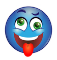 Crazy blue Smiley showing tongue vector image vector image