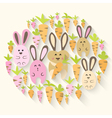 Easter pink rabbits and carrots icon set vector image