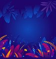 exotic tropical plants in night background vector image vector image