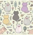 funny cartoon cats seamless pattern childish vector image