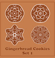 gingerbread snowflakes cookies set merry vector image vector image