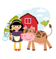 Girl and cow vector | Price: 3 Credits (USD $3)