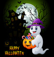halloween background with ghost holding full of ca vector image vector image