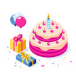 happy birthday 3d concept cake with a vector image vector image