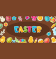 happy easter greeting card with holiday stickers vector image
