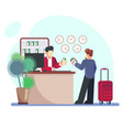 hotel check-in registration of a hotel room vector image
