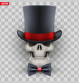 human skull with cylinder hat and bow tie vector image vector image