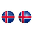 iceland flag under 3d dome button and on glossy vector image vector image