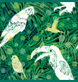 ink hand drawn jungle seamless pattern with birds vector image vector image