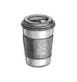 ink sketch hot drink in paper cup vector image vector image