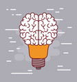 light bulb silhouette with brain shape on top with vector image vector image